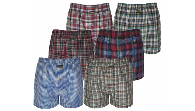 12-Pack of Men's Woven Check Print Boxers - 5 Sizes